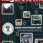 "2012. The City of Hagerstown had Icon Graphics create the cover of their popular annual financial report in 2012. The theme was ""experience the Hub City,"" so we went with the concept of a technilogical hub."