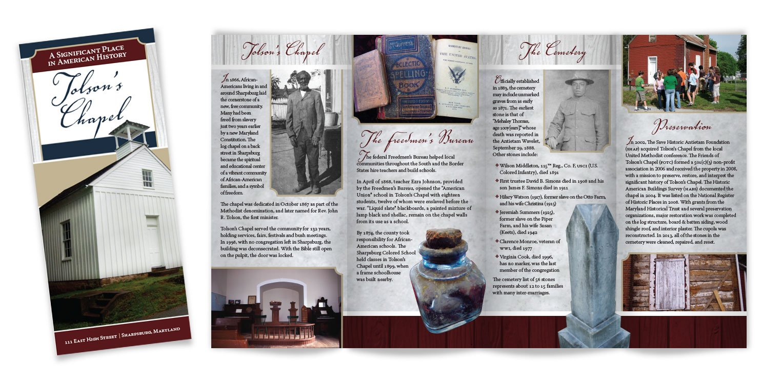 In 2014, Edie Wallace from Friends of Tolson's Chapel approached Icon Graphics to redesign the brochure for the landmark. Edie and the rest of the committee were quite pleased with the result.